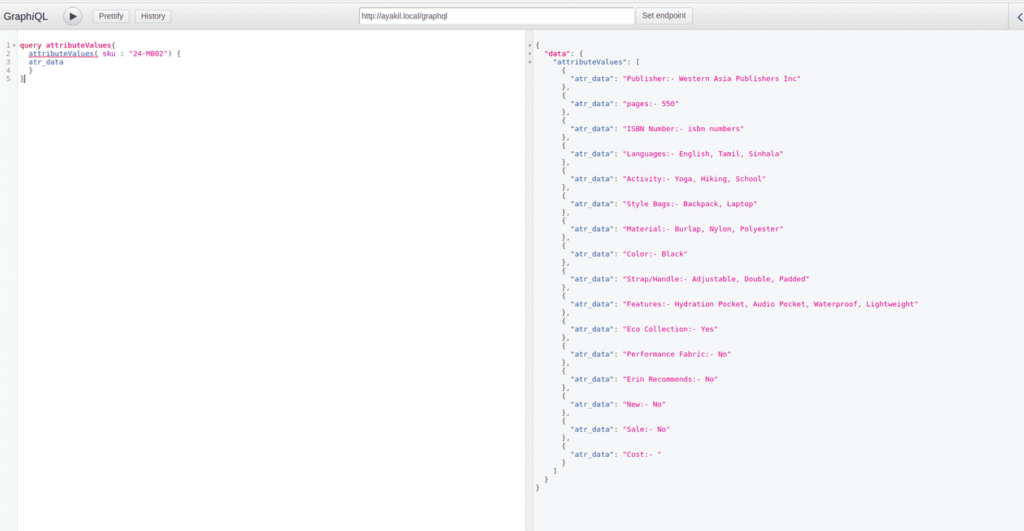 product attribute value and label in graphql