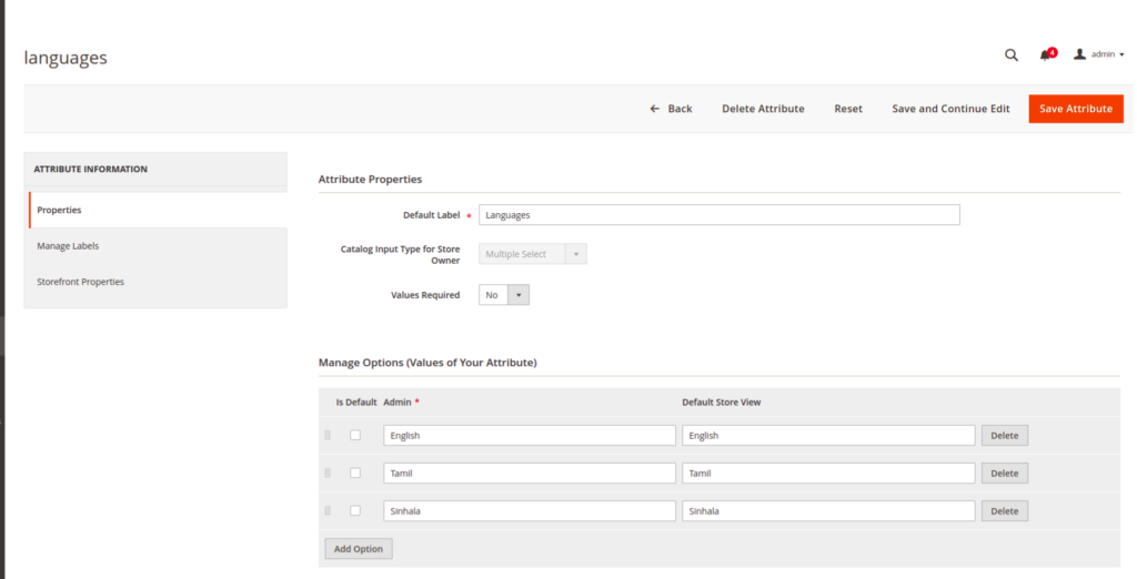 Attribute languages - Multi select